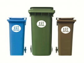 Wheelie Bin Numbers Oval x3