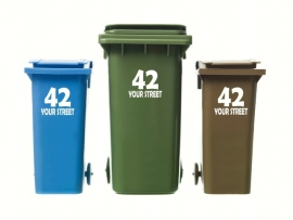 Wheelie Bin Numbers Sticker x3