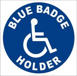 Vehicle Blue Badge Holder Wheelchair Decal