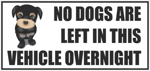 Vehicle Sticker No Dogs Are Left In This Vehicle Over Night
