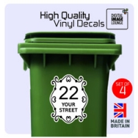 4 x WHEELIE BIN NUMBERS PRINTED CUSTOM HOUSE ROAD / STREET NAME STICKERS SCROLL