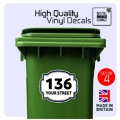 4 x WHEELIE BIN NUMBERS STICKERS - CUSTOM HOUSE / ROAD / STREET NAME A5 148x210