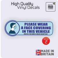 2 x Taxi Minicab Private Hire Vehicle Stickers Face Covering Mask