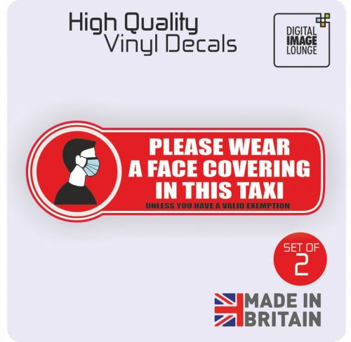 2 x Taxi Vehicle Stickers Face Covering Mask