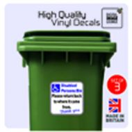 3 x WHEELIE BIN STICKERS - DISABLED PERSONS BIN STICKERS125 X 125 PRINTED