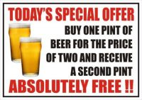 FUNNY SIGN TODAY'S SPECIAL OFFER BEER, PUB, CLUB, STICKER A5