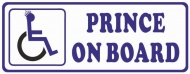 Prince On Board Car Sticker Disability Wheelchair Logo