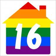 Rainbow Wheelie Bin House Sticker x3